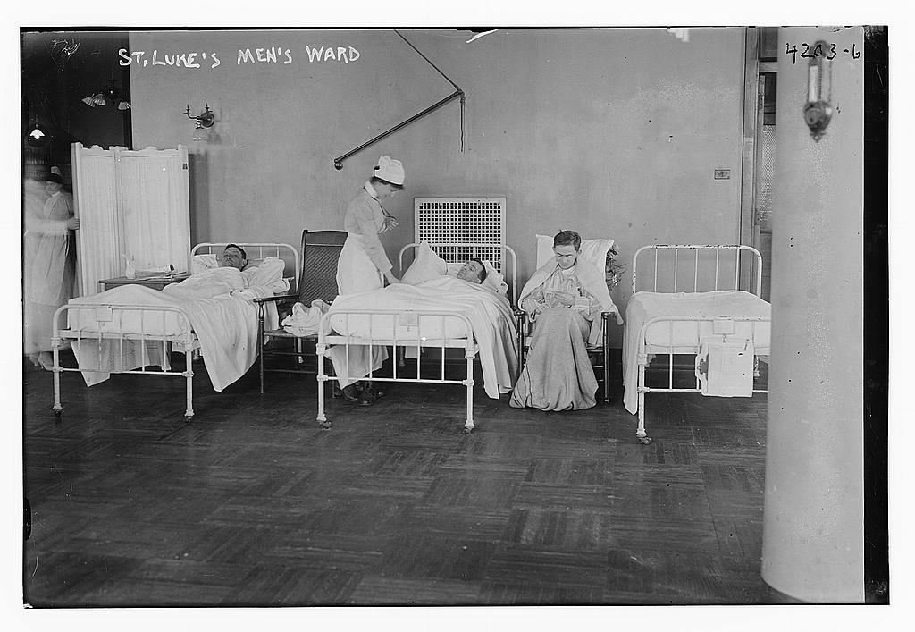 Stará fotografie nemocničního pokoje